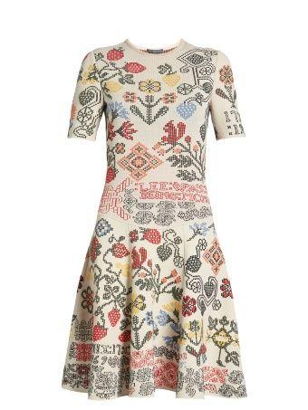 Cross stitch-jacquard A-line dress