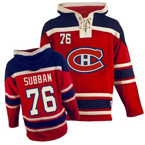 P.K Subban Jersey-Buy 100% official Old Time Hockey P.K Subban Men's Premier Sawyer Hooded Sweatshirt Red Jersey NHL Montreal Canadiens #76 Free Shipping.