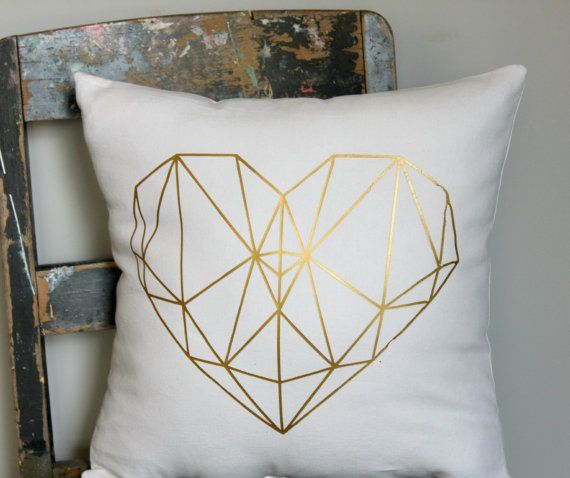 Geometric metallic gold heart design on white, modern and spunky! Choose your colour heart from the colour chart. + Sizes 40 x 40cm approx. 16 x