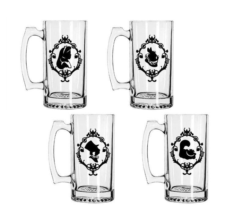 Alice in Wonderland Inspired Beer Mugs, Set of 4 Personalized Beer Mugs, Custom Beer Mugs, Unique Alice Mad Hatter Beer Mugs by stickemupBreeLee on Etsy