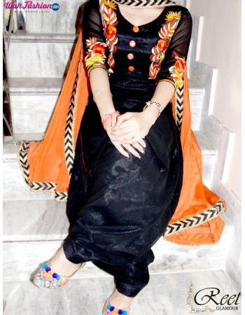 Splendid Black And Orange Embroidered Punjabi Suit Product Code: Em_106 Direct Link: http://goo.gl/hRArYA For more details whatsapp us: +919915178418 We can design this suit in any color combination or on any fabric (price may vary accoroding to fabric) www.wahfashion.com