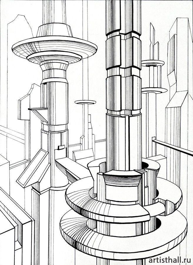 Концептуальное выполнение композиции Мегаполис - 2 #art #design #draw #композиция #графика #мегаполис #artworkshop #artisthall