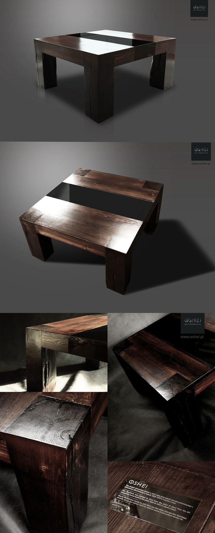 Magic of old wood... OSHEI Suspirio is a unique, massive table made in 2012. It come from from pine wood collected from the restored tenement, which was built in the years 1830-1850, in Leszno (Poland).  The analysis shows that the cross-section of wood age at the time of felling tree exceed 110 years, so a tree was planted in the range of years from 1720 to 1750.