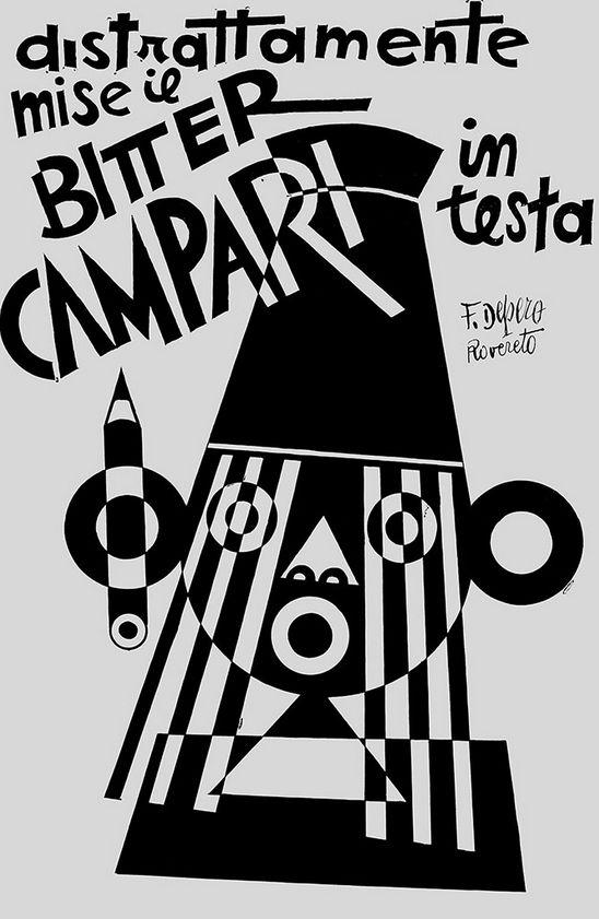 Fortunato Depero (1892-1960), 1928, He Distractedly Put the Bitter Campari on His Head (Distrattamente mise il Bitter Campari in testa), India ink on card.