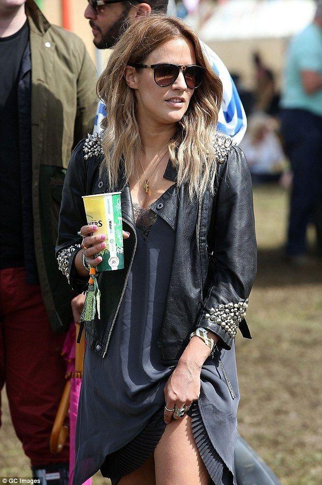 Caroline Flack, 34, and boyfriend Jack Street, 26, at Glastonbury - Celebrity Fashion Trends