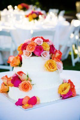 Colourful Roses On Wedding Cake Fresno Cakes