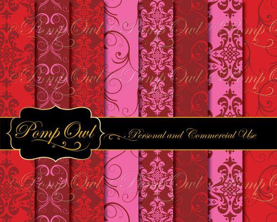 Digital Papers Damask Backgrounds Pink & Burgundy ...
