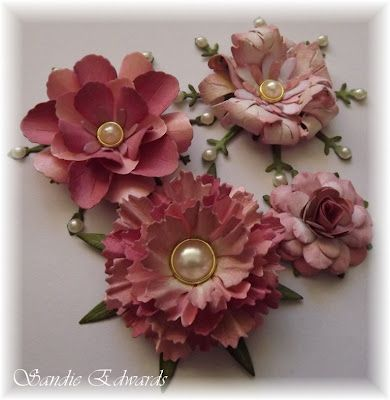 Four Different Flowers Tutorial- ~By Sandie Edwards, Delightfully Crazy