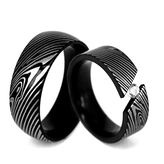 9f301da3eb21 Mens   Womens Damasco acero plateado anillo de bodas anillo ...