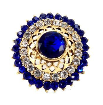 bridal royal blue kundan  gold plated adjustable finger ring