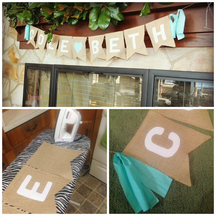 This is the cute pennant banner I made for our beautiful wedding at the Lake Guntersville State Park. It was easy, I just appliqued fabric letters to the burlap pennants and added ribbon.