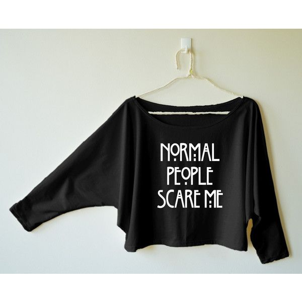 Normal People Scare Me Shirt Word Shirt Funny Shirt Women Shirt Off... ($16) ❤ liked on Polyvore featuring tops, hoodies, sweatshirts, grey, t-shirts, women's clothing, gray top, bat sleeve shirt, gray sweatshirt and checkered shirt