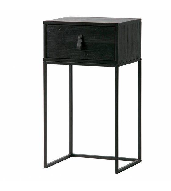 Nachttisch Zola Schwarz Holz Metall 40x35x74cm Lefliving De In 2020 Beistelltische Wohnzimmer Nachttisch Selber Bauen Nachttisch