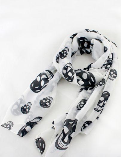 White Fashion Black Skull Print Scarves pictures