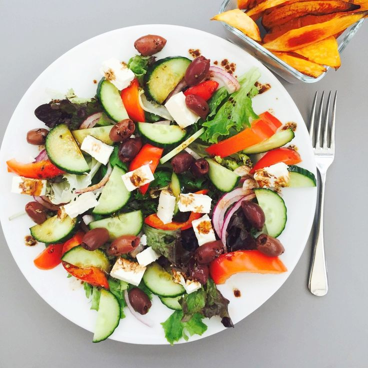 Awesome Greek Salad - this quick salad recipe is ideal for weeknight dinner, fresh, tasty and delicious. A great vegetarian stand-by dinner perfect with a glass of chilled icy white wine!
