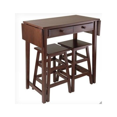 Island Block Counter Table 2 Stools Breakfast Bar Nook Dining Set Brown Kitchen | eBay