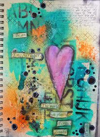 Be an encourager! Mixed Media art journal page by Christy Butters