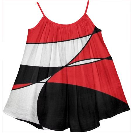 Colorful black, white and red print girls tent dress