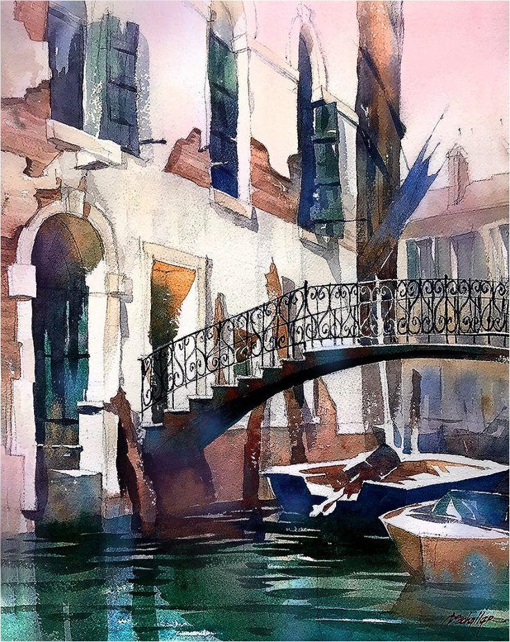Thomas W Schaller - Watercolor Artist Corner : Venice -Italy. Watercolor. Thomas W Schaller. 22x15 Inches 08 June 2017.