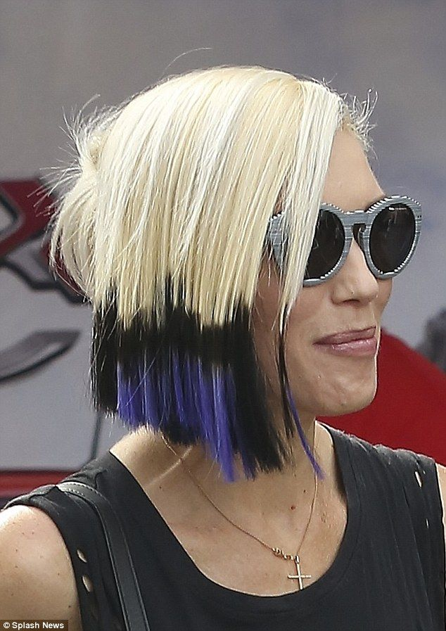 Brand new look: Newly-single Gwen Stefani showed-off her punky hairdo while out shopping  Sept 2015