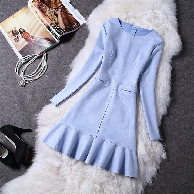 Winter Women Suede Dress Autumn Long Sleeve Bodycon Party Dress Women Vestidos Robe Vintage Ladies Pink Dresses C3714 light blue