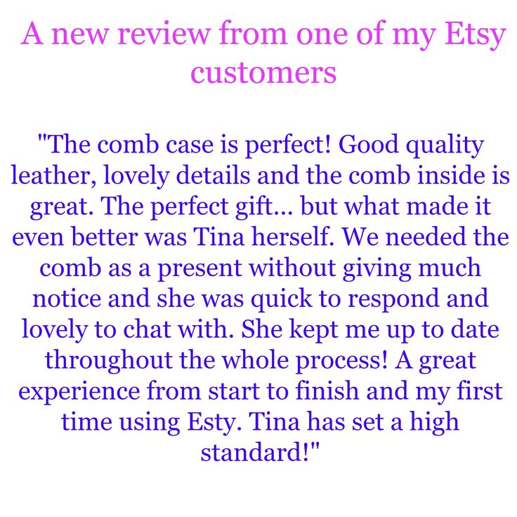 An Etsy customer review for my handmade personalized initials leather comb cases. Repin To Remember.