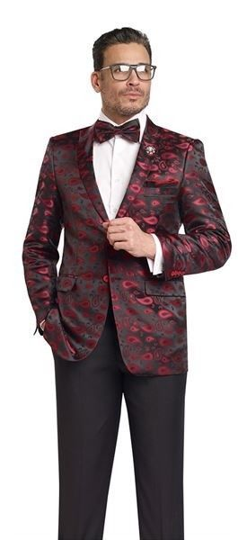 Designer Mens Black Red Blazer Paisley Print Wedding Suit Jacket J18 Ej Samuel Ejsamuel