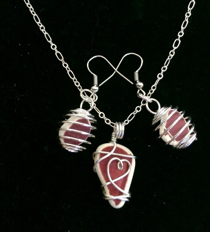 Sea pottery in burgundy heart collection combo.