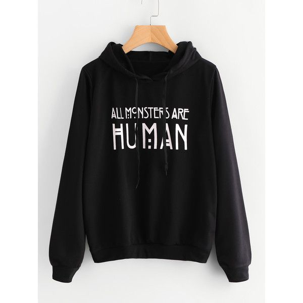 Letter Print Hoodie ($15) ❤ liked on Polyvore featuring tops, hoodies, black, hooded pullover sweatshirt, pullover hoodie, long sleeve pullover, long sleeve hoodies and graphic hoodies