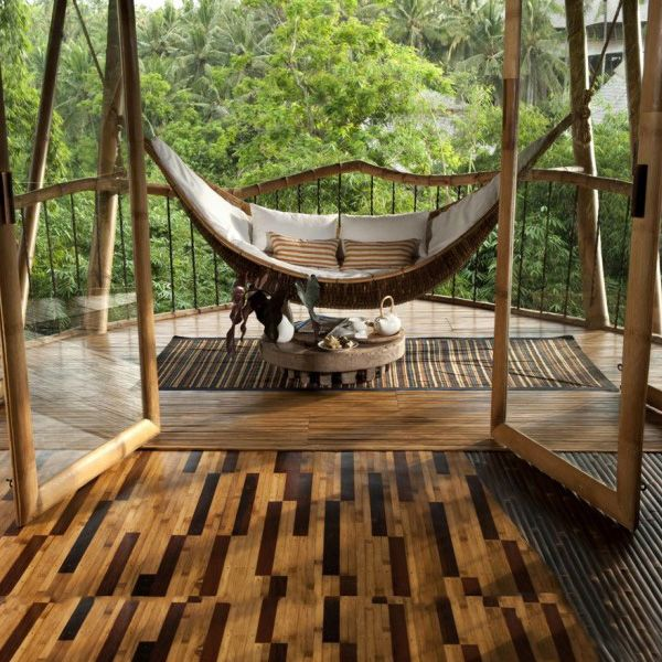 the house bamboo built - this bamboo hammock and flooring is beautiful!  #bamboo #ecolution