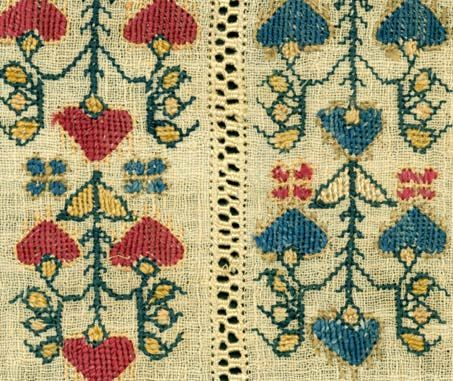 Detail, Turkish linen towel with silk thread embroidery,  mid 20th C,. photo (c) Fran Seigel, original textile from Textile Gems collections