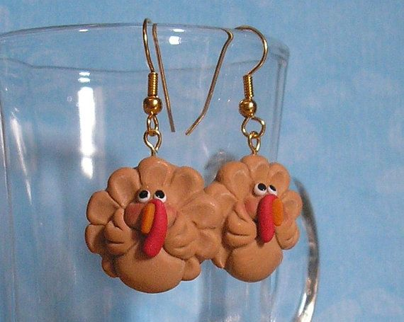 Funny Turkey Earrings for Thanksgiving by Buttonwilloe on Etsy #goofyturkeyearrings #thanksgivingearrings #handmadejewelry