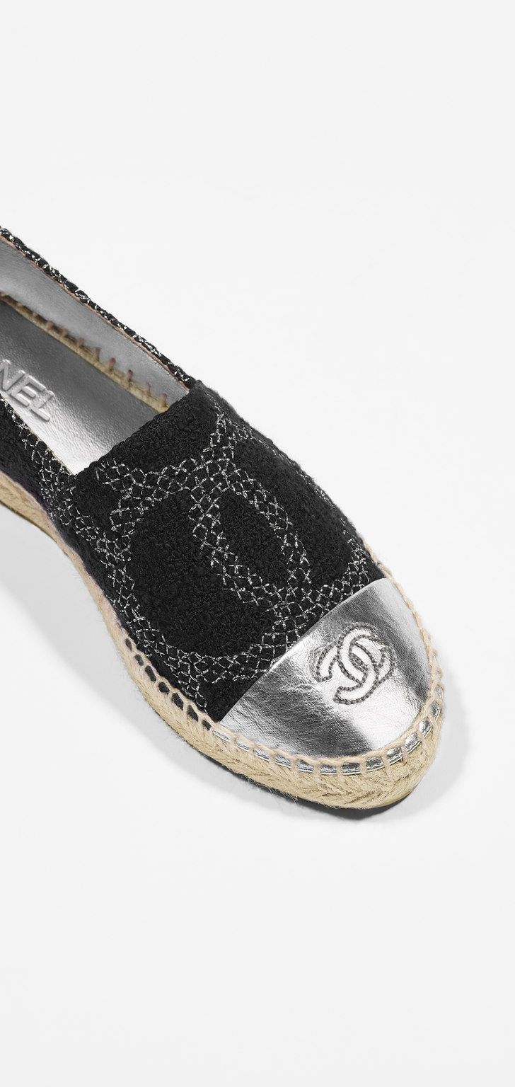 Espadrilles, tweed & lambskin-black & silver - CHANEL
