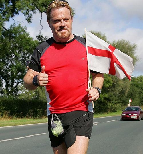 Eddie Izzard: comedian, marathon man, badass. In 2009, he ran around the UK, effectively undertaking 43 marathons in 51 days, to raise money for Sport Relief.