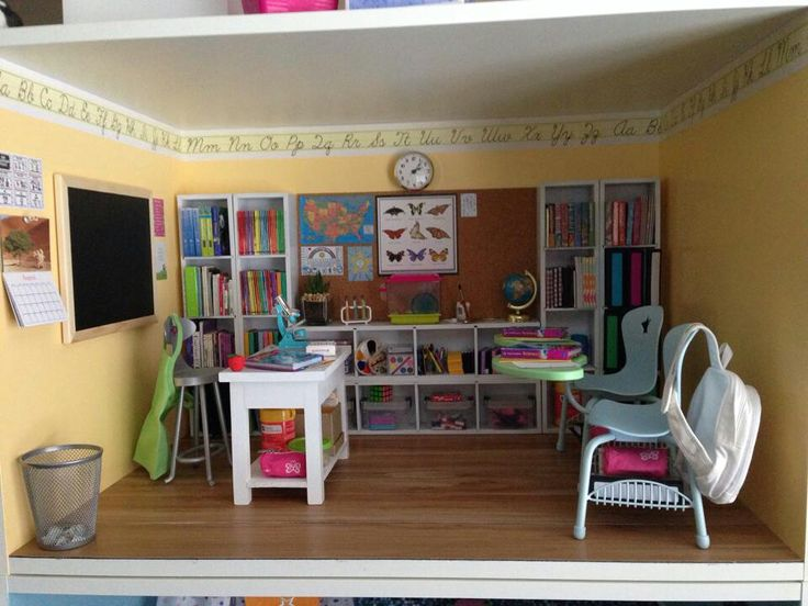 American girl diy school.  Follow my dolls house ideas on pinterest for more…