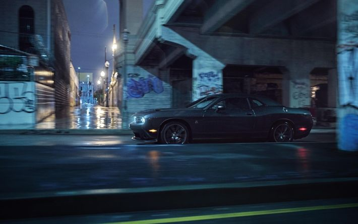 Download wallpapers Dodge Challenger, supercars, 2018 cars, night, movement, Dodge