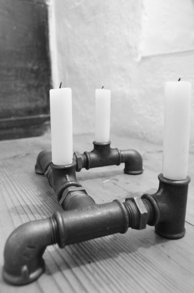Kerzenständer im Industrial Stil aus Rohren, minimales Design / candle stick in industrial style, home decor made of pipes made by Industrial-KO-Design via DaWanda.com