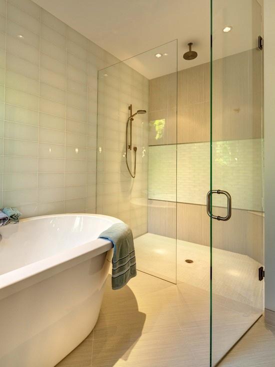 Large White Subway Tile Bathroom