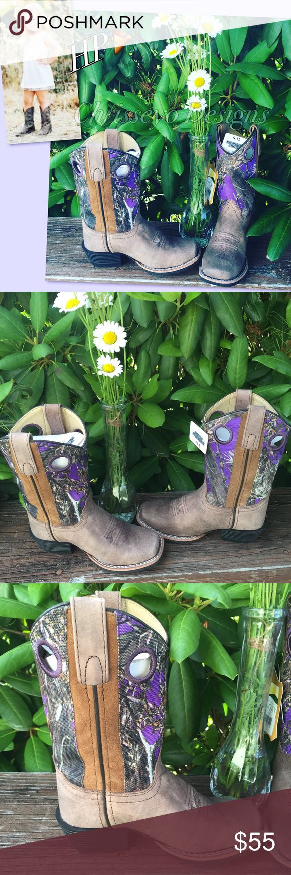 HOST PICK❤️ Leather & purple camo cowgirl boots💕 New in box leather, square toe, cowgirl boots Shoes Boots