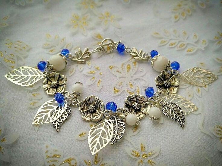 """Купить Браслет """"лесная нимфа"""" - листик, браслет, агат, белый, синий, блеск, цветы, агат"""