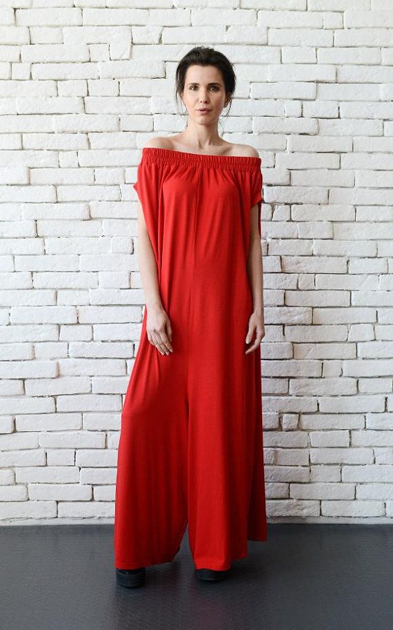 5802afa0648 NEW Plus Size Red Jumpsuit Oversize Long Overall Casual Red Maxi Romper Casual  Loose Long Jumpsuit Wide Leg Jumpsuit Long Red Jumpsuit Pants