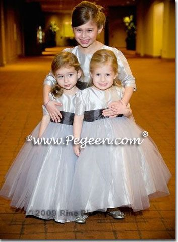 a80f42f636 Platinum and Pewter (Charcoal) Custom Flower Girl Dresses by Pegeen ...