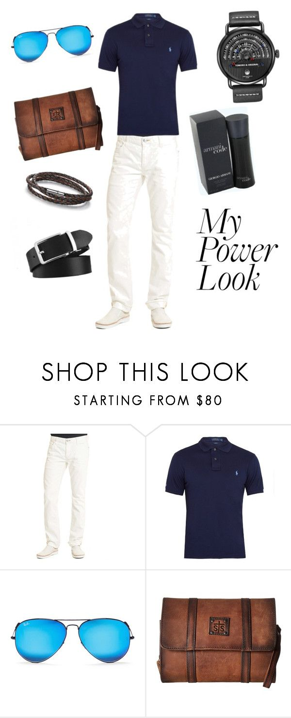 """""""Men's Hot Fashion Look"""" by kjselections ❤ liked on Polyvore featuring Giorgio Armani, Robert Graham, Polo Ralph Lauren, Ray-Ban, STS Ranchwear, men's fashion and menswear"""