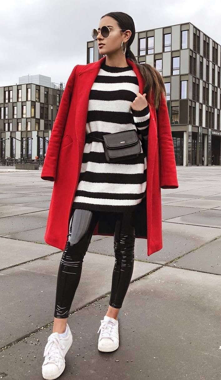 how to wear a red coat : striped sweater dress + bag +