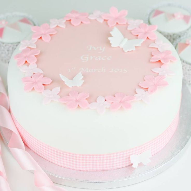 This Personalised Girls Christening Cake Decoration Kit comes with an edible…