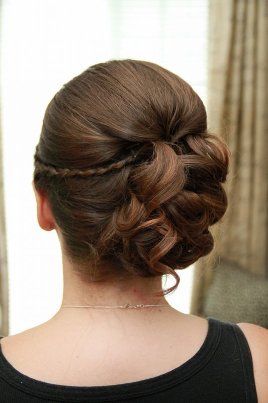 This updo is beautiful! I love the combination of curls with a small braid.