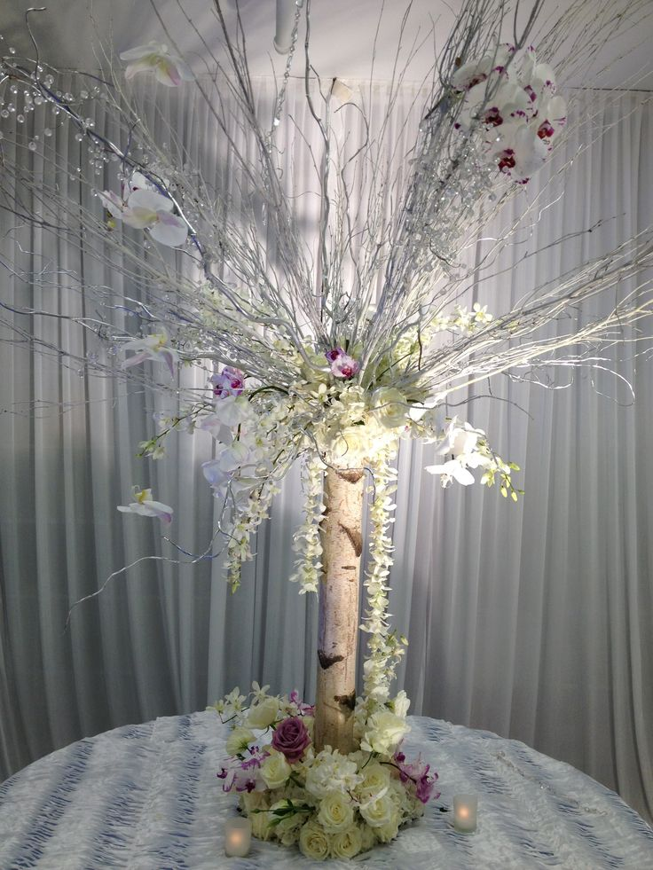 Birch tree trunk with white branches and flowers