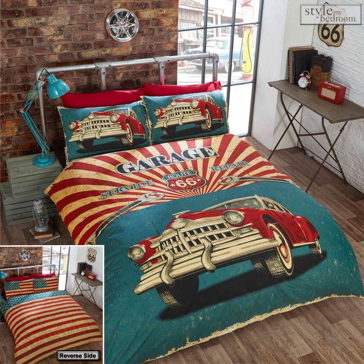 Route 66 Retro Garage Vintage Car with USA Flag Reverse Duvet Quilt Cover Set in Home, Furniture & DIY, Bedding, Bed Linens & Sets | eBay