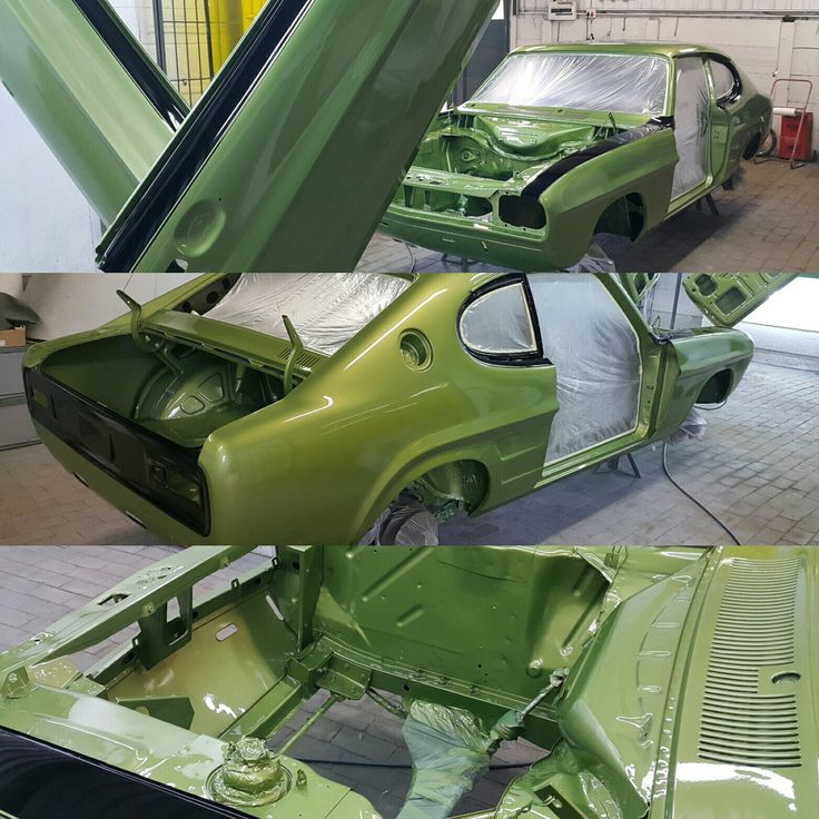 #Capri #Perana in the booth momens after getting it's gloss clear coat. Next we paint the inside of the car body and then off to polishing