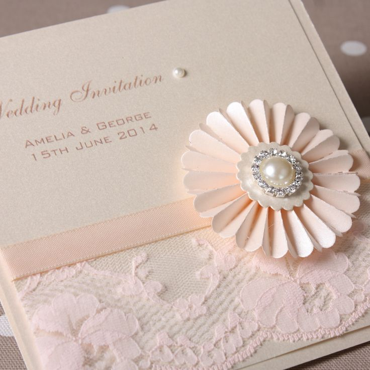 New range of vintage purl and lace wedding stationery from www.personal-e-yours.co.uk. This 150mm sq folded boxed invitation is shown here in ivory and blush